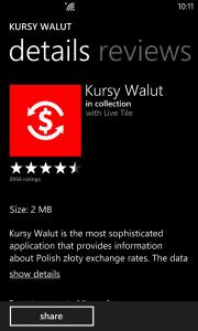 Windows Store - Kursy Walut - Details